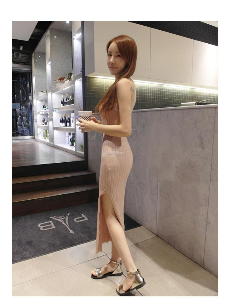 Knit hanging neck bag hip strapless long tight elastic split bottom sk