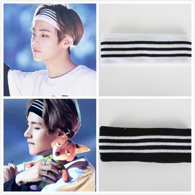 Knitted Sport Gym Black and White Striped Headband Sweatband. ‹ › 11911379090