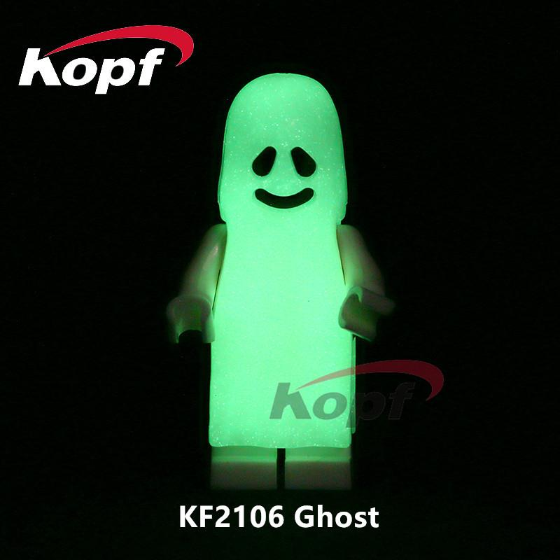 KOPF KF2106 GHOST White ghost (smiley) minifigure GLOW IN THE DARK