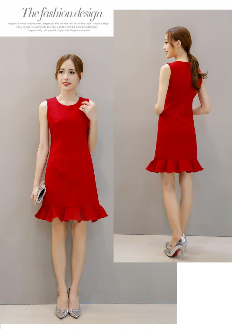 Korea 2016 Casual Or Dinner Dress Red L