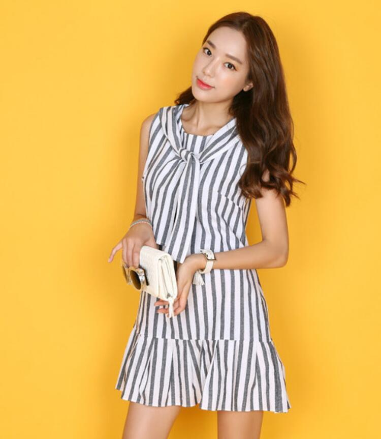 Korea Comfortable Stripe Design Ladies Casual Dress