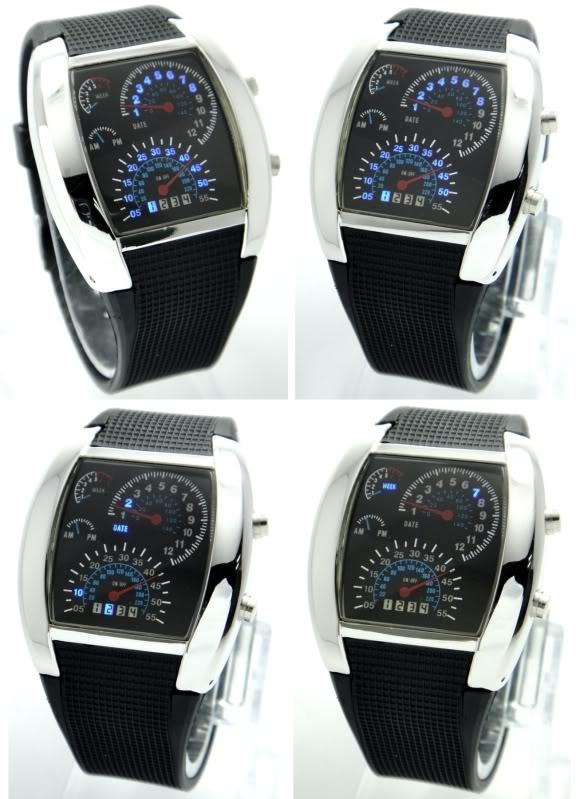 Korea Design LED Watch Car Racing RPM Speedometer