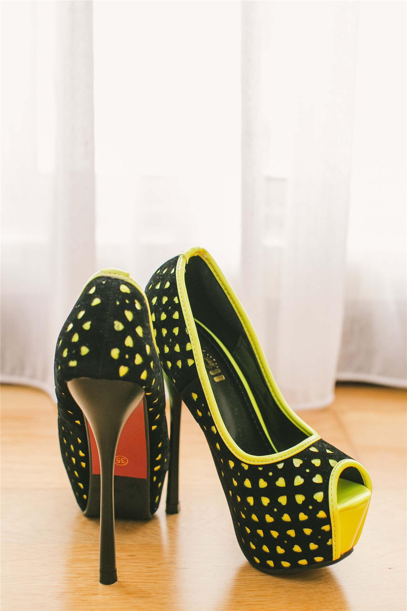 3bedbbde6eb Korea Fashion Stylish Design Yellow on Black Sexy High Heels Shoes