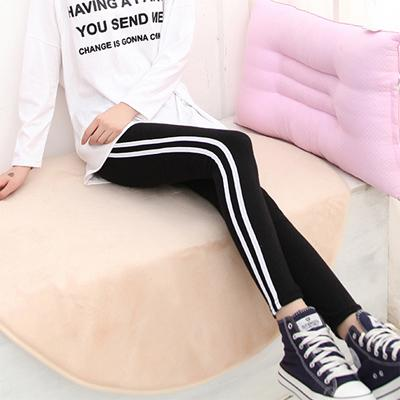 Korea Flexible White Side Show Slim Cotton Exercise Legging