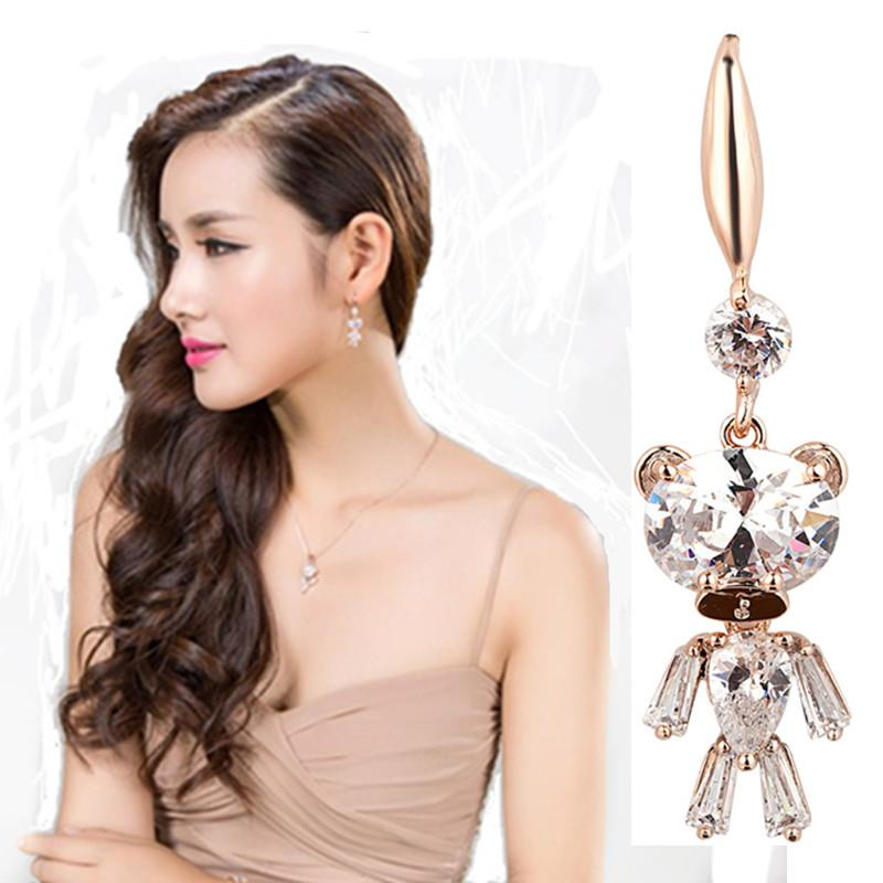 Korea Gold Plated Bling Bling Luxury Teddy Earring