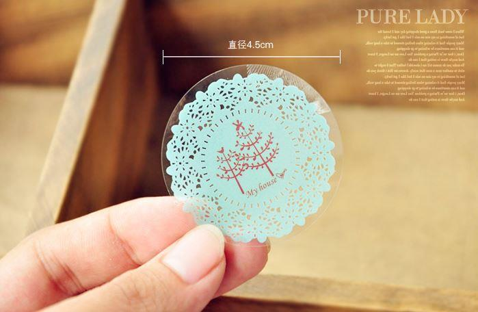 Korea Scrapbooking Cute Round Lace Stickers Transparent