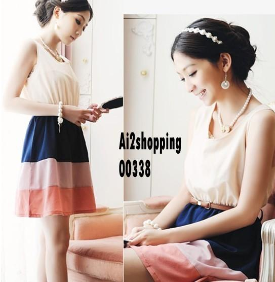 Korea sleeveless chiffon mixed colors waist ladies section Dress (with..