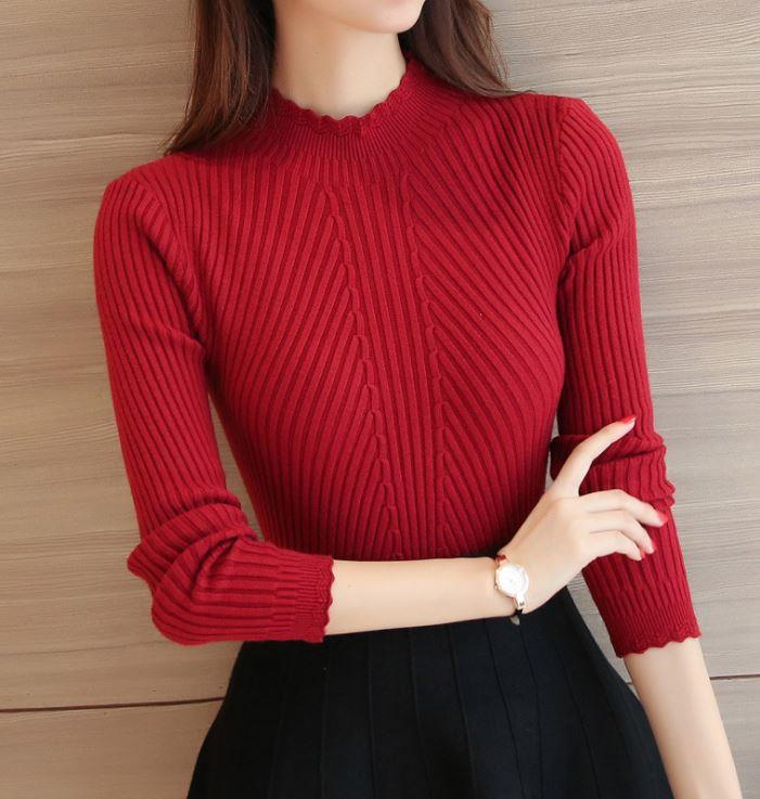 Korea Style Half-high Collar Show-slim Long Sleeve Blouse (Wine Red)