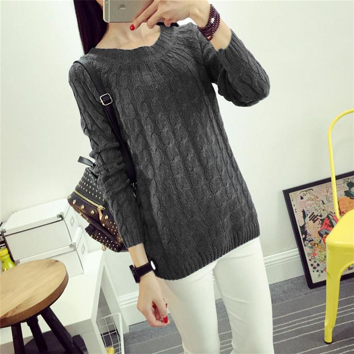 Korea Style Twisted Knit Long Sleeve Blouse (Dark Grey)
