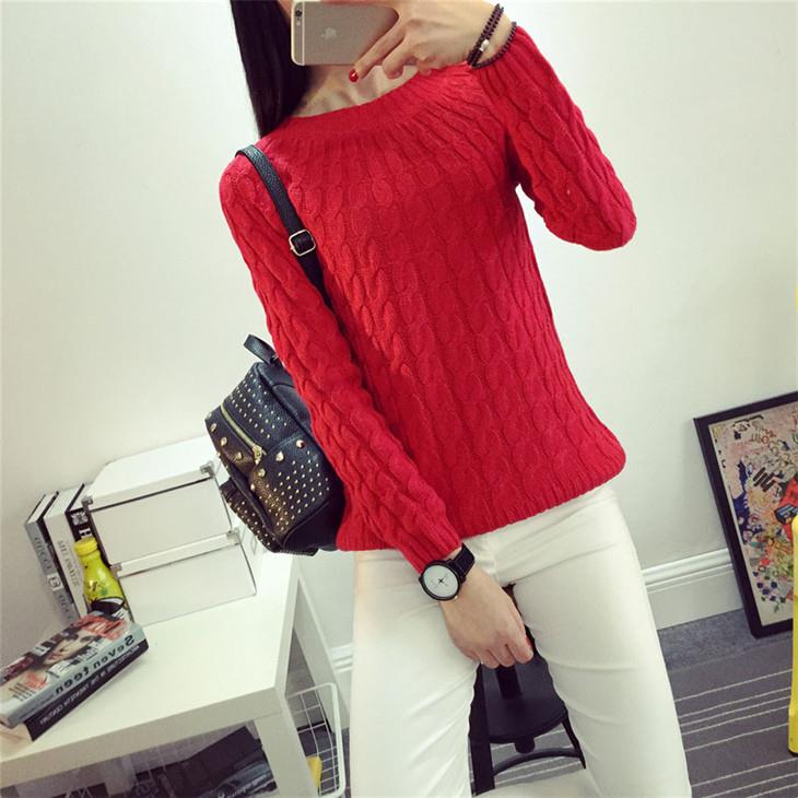 Korea Style Twisted Knit Long Sleeve Blouse (Red)