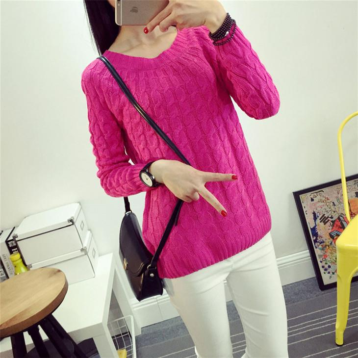 Korea Style Twisted Knit Long Sleeve Blouse (Rose Red)