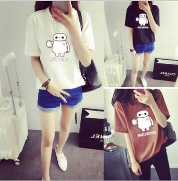 Korean Big Hero t shirt baju women T-shirt 6 Baymax Robot Robotic Cute