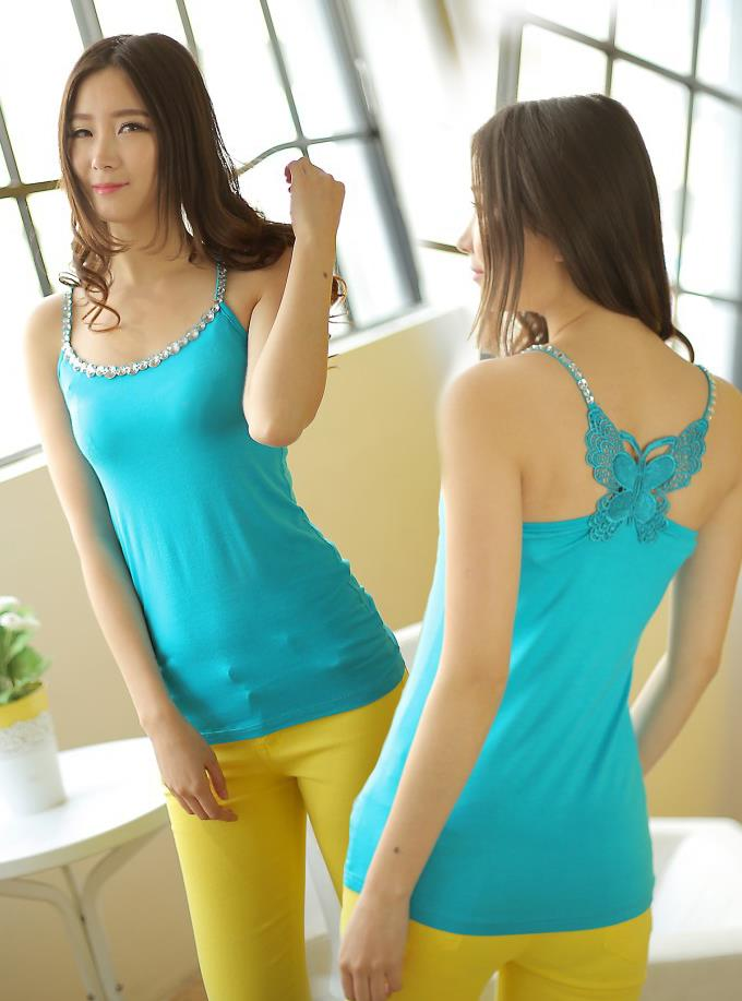 New~Korean Back Butterfly Diamond Modal Vest