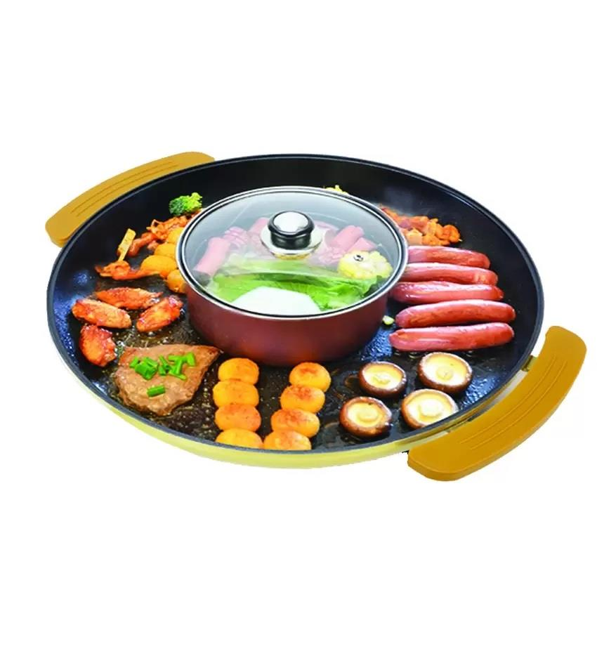 Korean Deluxe 2 In 1 Circular Electric Bbq Grill Pan Steamboat