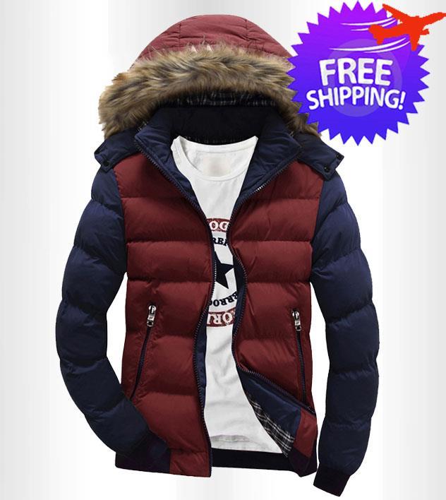98b616b7e Korean Design Men Long Sleeve Hooded Winter Jacket Coat