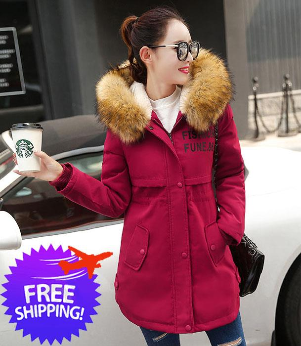 Korean Design Women Lady Fur Neck Hooded Winter Autumn Jacket Coat