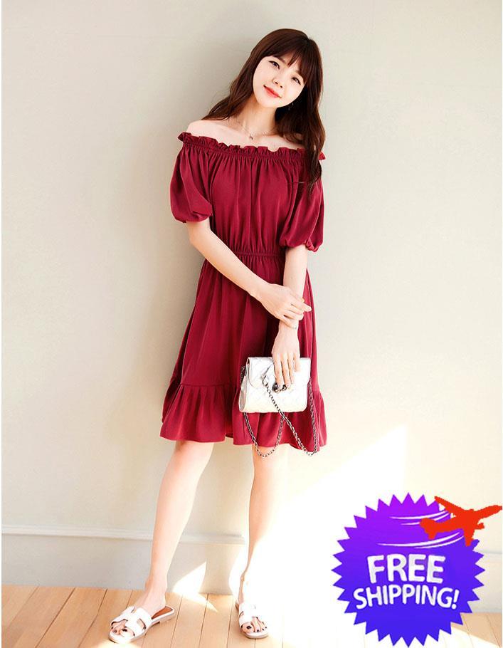 b31212eda305 Korean Design Women Lady Short Sleeve Off Shoulder Dress. ‹ ›