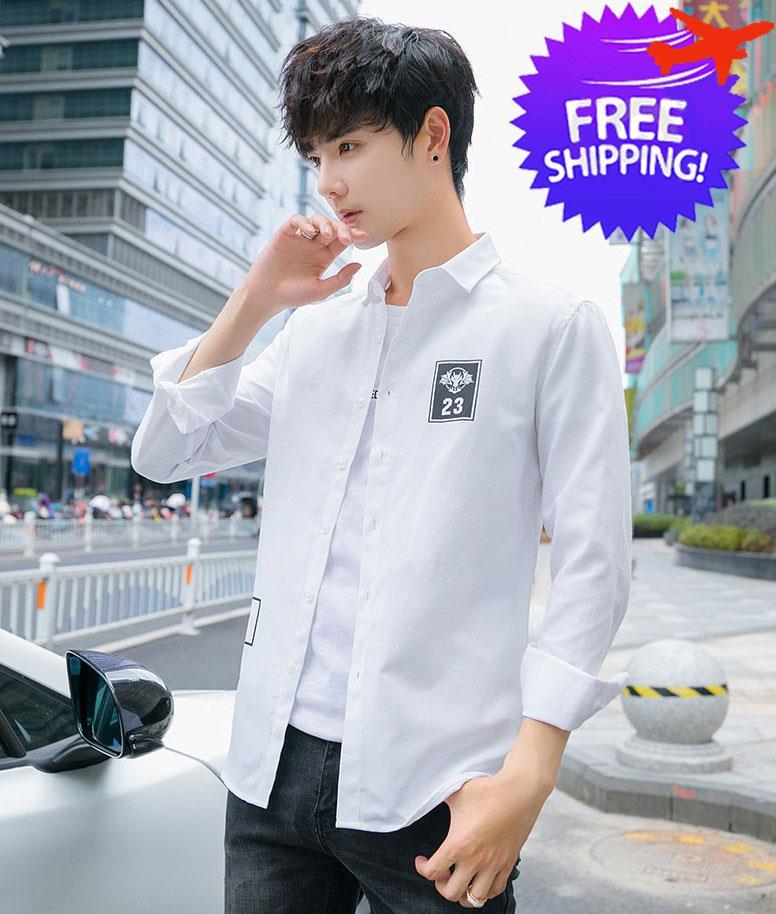 Korean Fashion Men Boy Long Sleeve Slim Fit Shirt