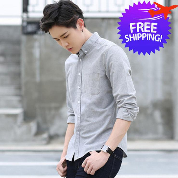 933ed36861df6 Korean Fashion Men Long Sleeve Slim Fit Smart and Casual Shirt