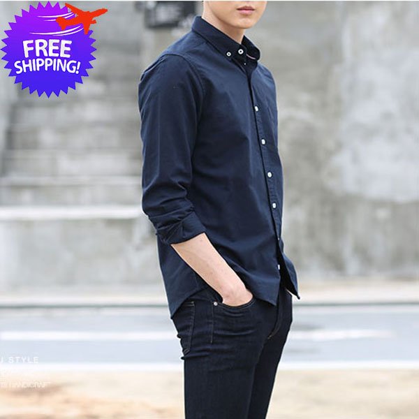 Korean Fashion Men Long Sleeve Slim