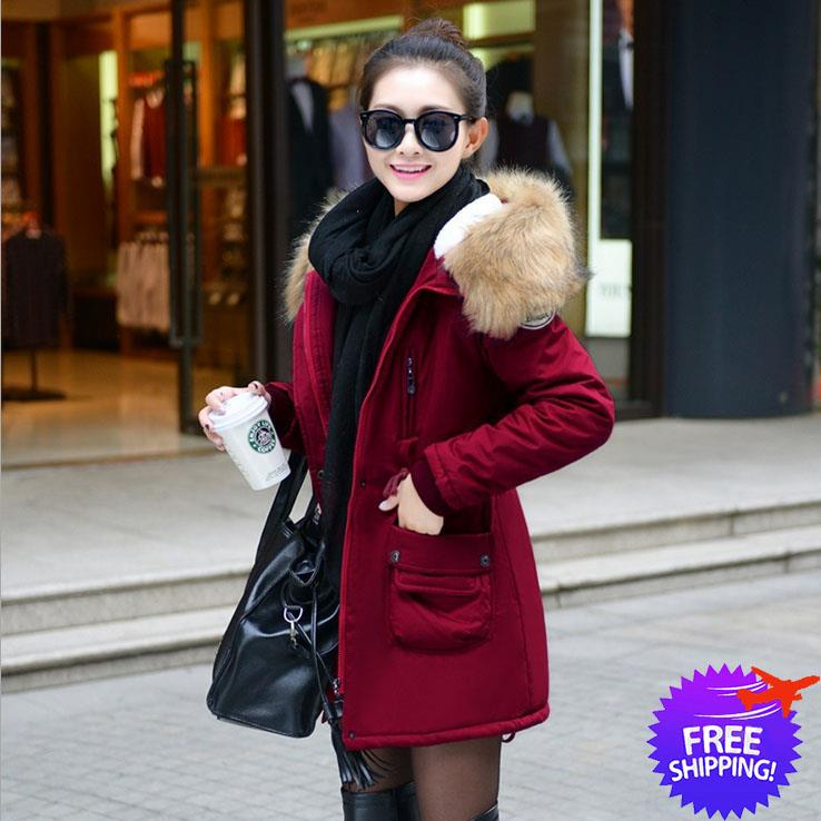 Korean Fashion Women Hooded Winter Jacket Blazer Coat