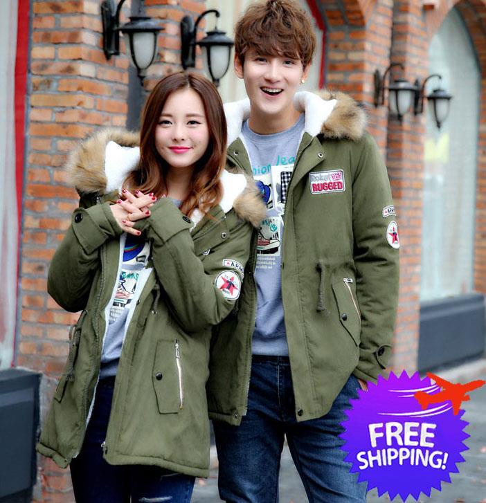 official photos 7c1b3 99341 Korean Fashion Women Men Hooded Winter Couple Jacket Coat