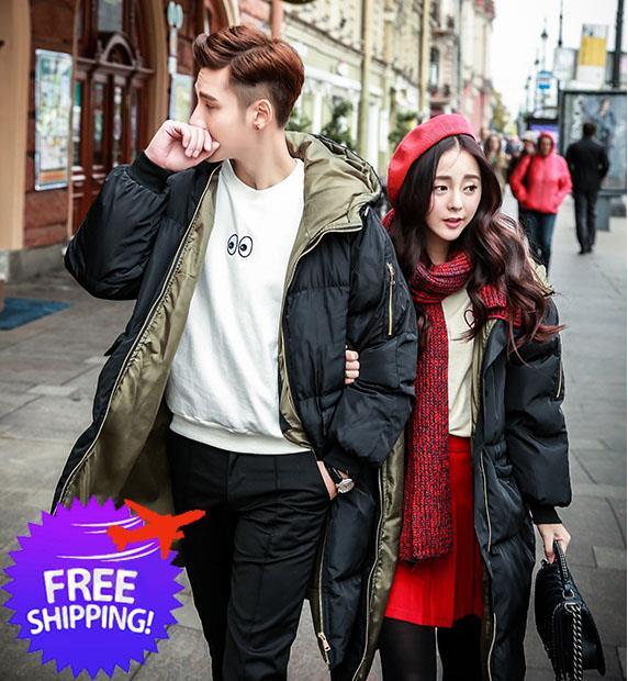 Korean Fashion Women Men Knee Length Couple Winter Jacket Coat