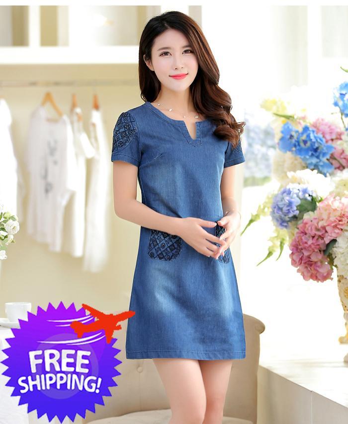 5fa12970c6 Korean Fashion Women Office Lady A-Line Cotton Denim Dress. ‹ ›