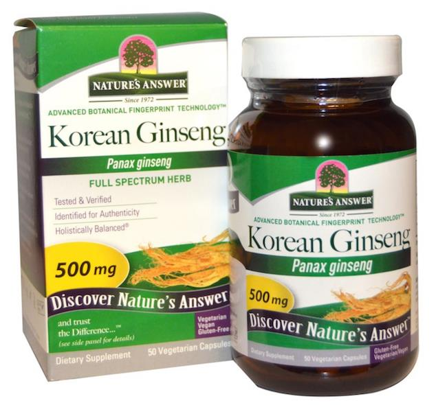 Korean Ginseng 500mg, 100% Vegetarian (MAde In USA)