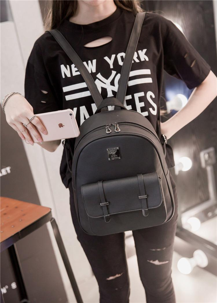 Korean Girls Women Lady Ladies Backpacks School PU Leather Travel Outing  Beg Perempuan Black Color