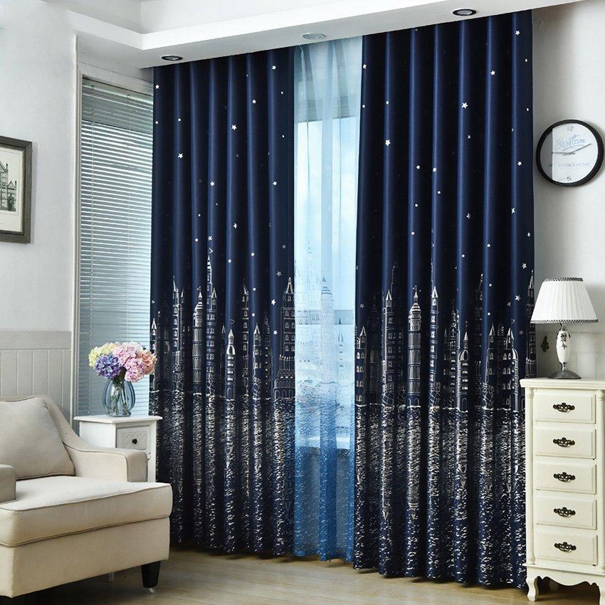 Korean Modern Printed Curtains For Nursery Room Customized Ready Made