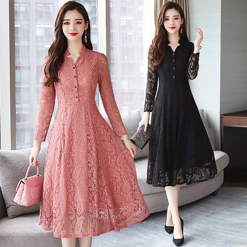 Korean Plain Lace Long Sleeve Dress End 1 28 2021 12 00 Am