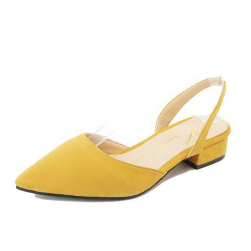 Korean Pointed Toe Low Heels (small Cutting) -lanna - [YELLOW,34]