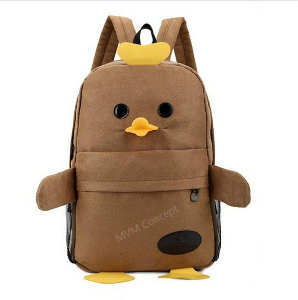 Korean Preppy Style Unisex Suede Duckling Backpack Student School Bag
