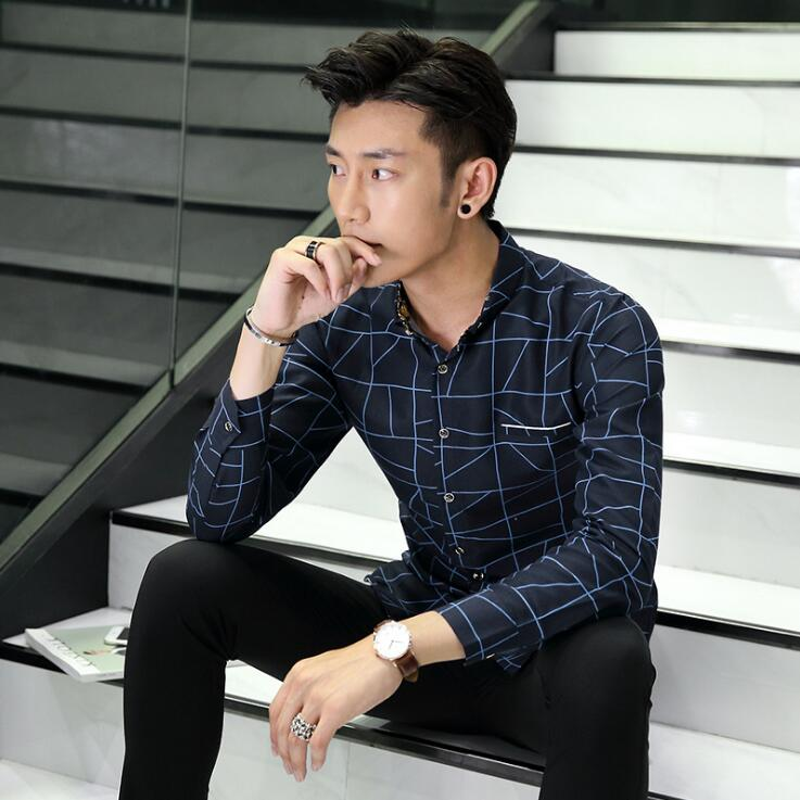 Korean Slim Fit Large Size Mens Long-Sleeved Embroidered Shirts