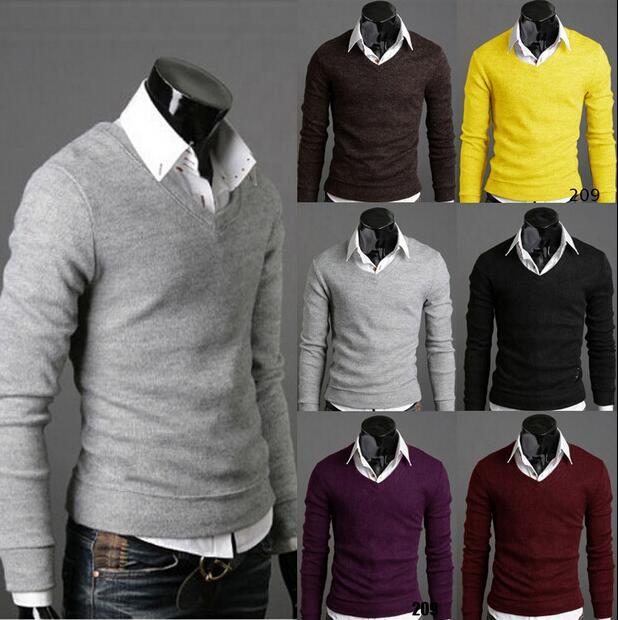 Korean Slim Fit V,neck Knit Sweater Jacker. \u2039 \u203a