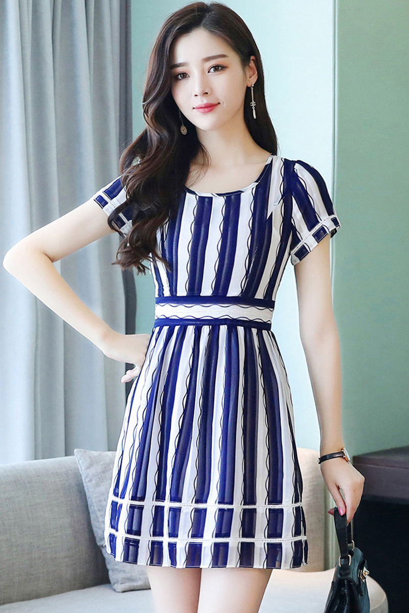 c93deff8f1f Korean Stripes Chiffon Short Sleeve Dress  Pre-Order  YXY-8562