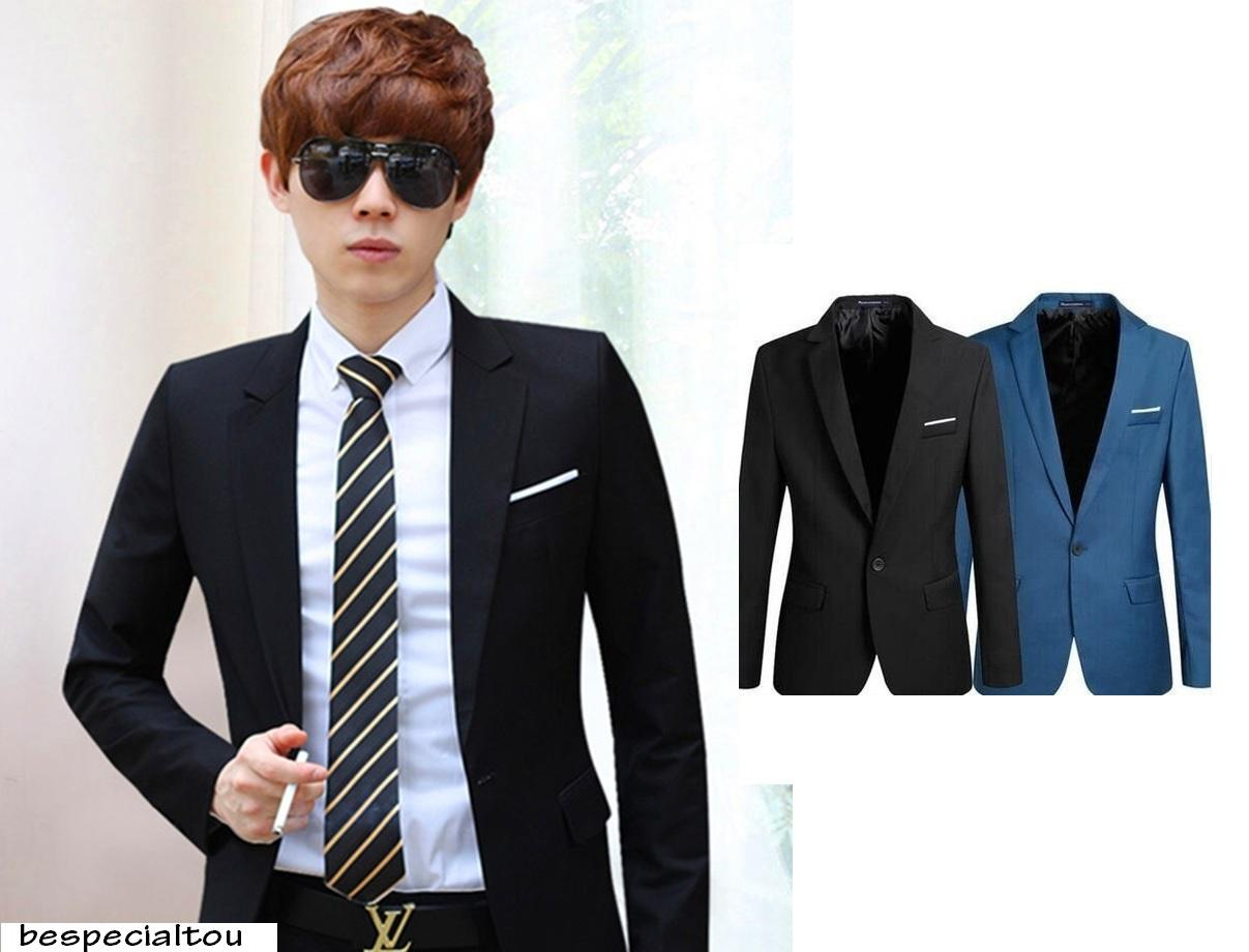63ae7b69db3 Korean Style Casual Slim Fit Men Blazer Coat Jacket Wedding Suit