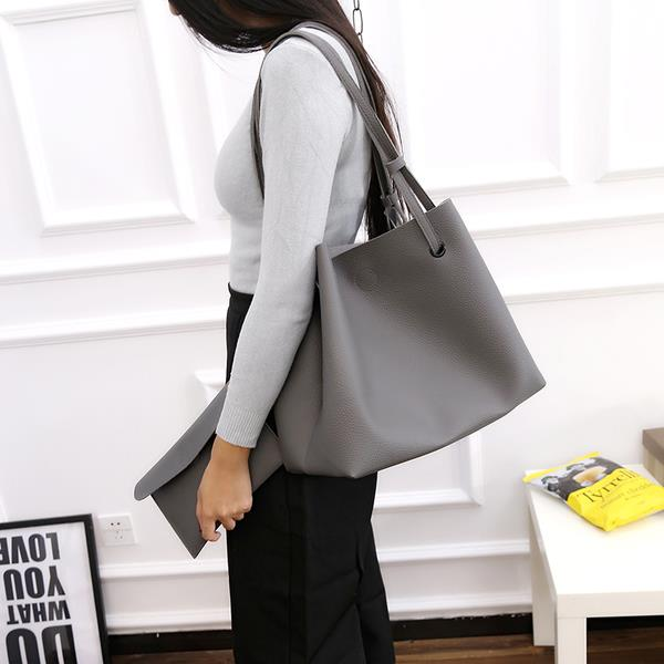 Korean Style Large PU leather Shoulder  Tote Bag With Small Pouch. ‹ › 171d1e6ab19fd