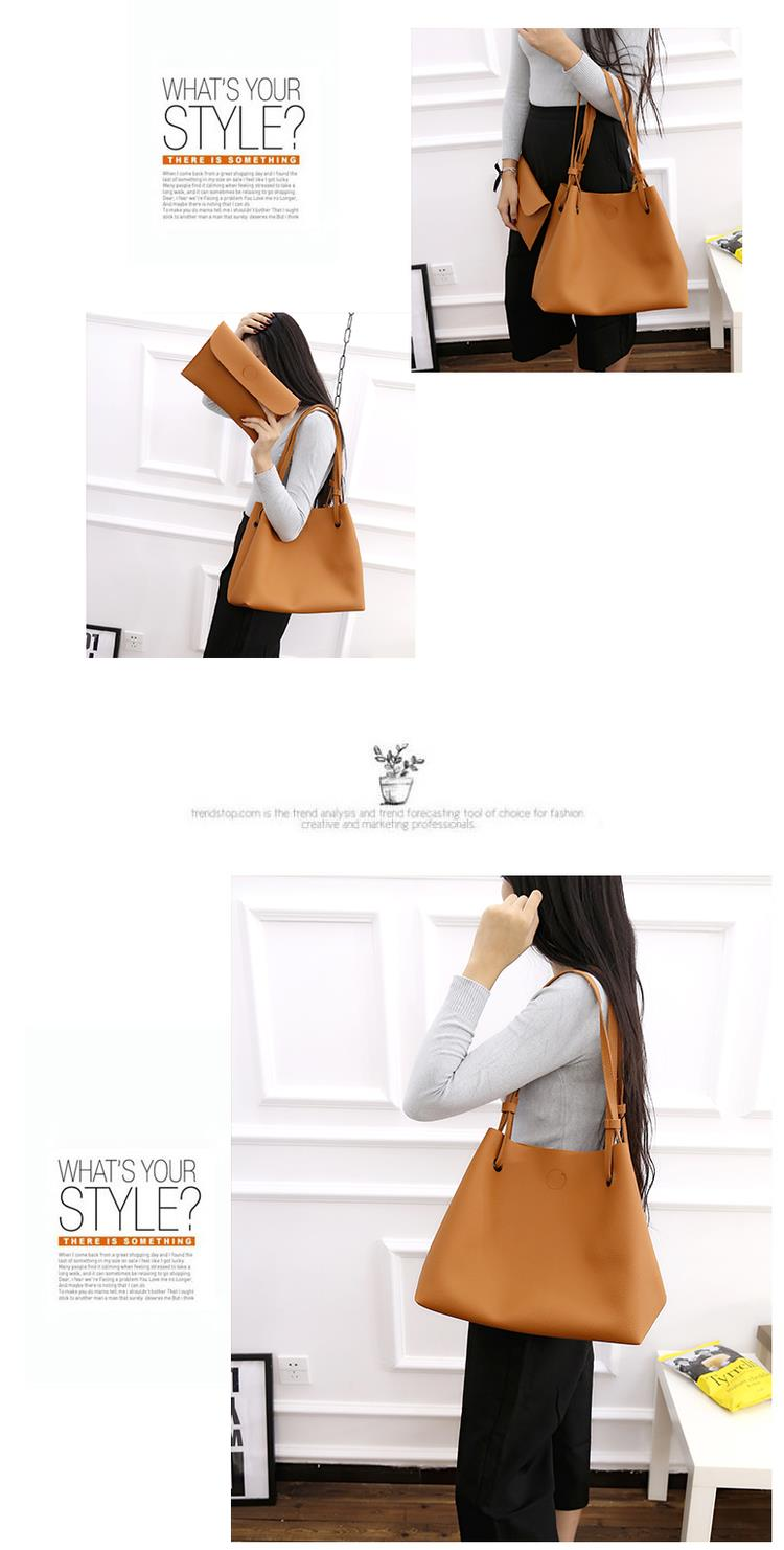 Korean Style Large PU leather Shoulder  Tote Bag With Small Pouch 69009e7d1663b