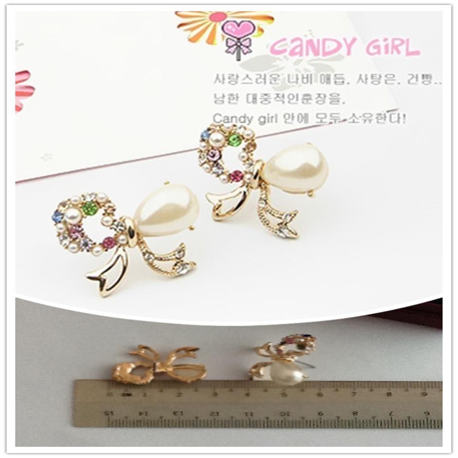 Korean Style Ribbon 18K Real Gold Plating Earring