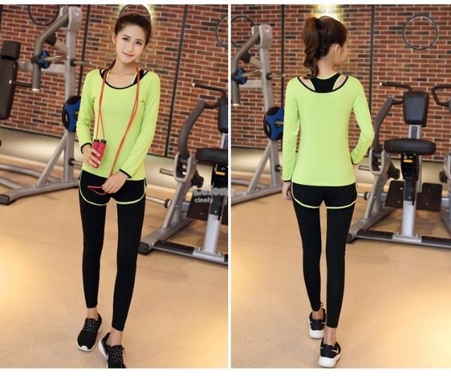 6426f7004ee Korean Style Women 3 In 1 Yoga Gym Sport Wear Set Long(Shirt+Bra+Pant)