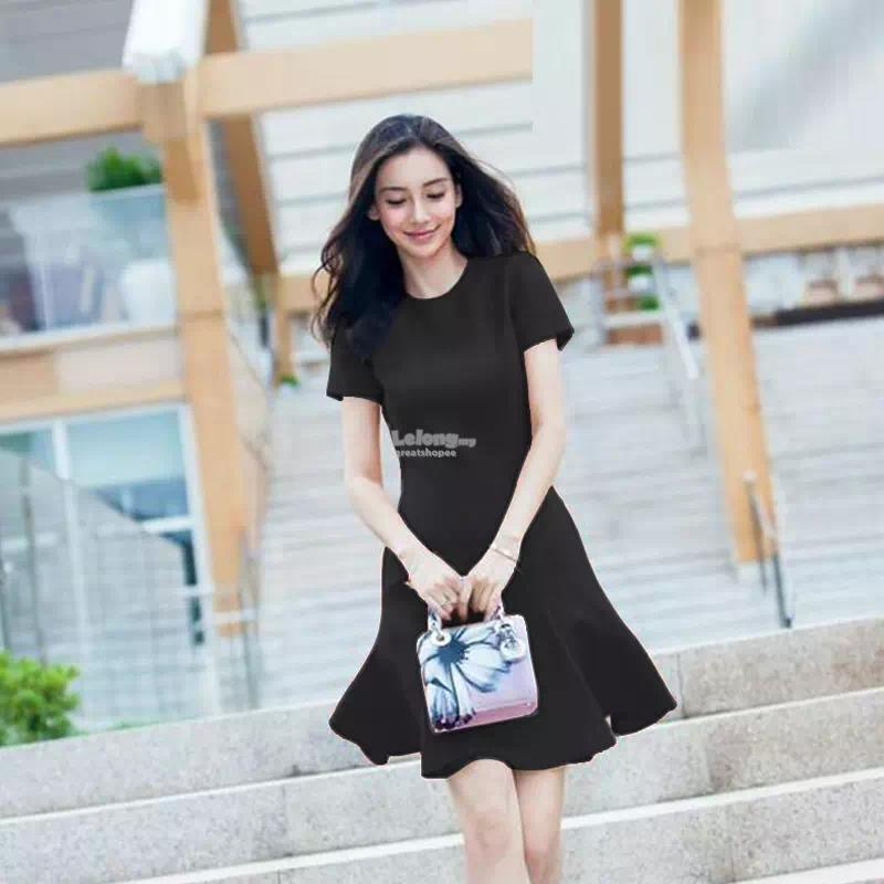 Korean Summer Fashion A Line Fishtail Dress Red Black S 2XL