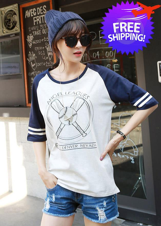 071bd331 Korean Summer Fashion Women Lady Round Neck Short Loose Sleeve T-Shirt. ‹ ›