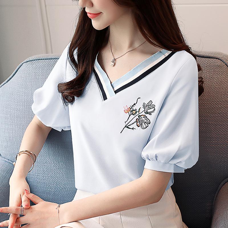 8e3f1baeba336 Korean Summer V-neck Embroidery Lantern Puff Sleeves Chiffon Shirt