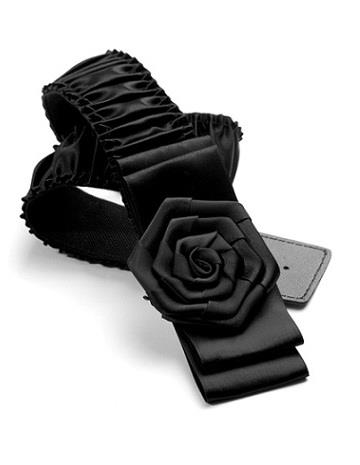 Korean Sweet Flowers Folded Elastic Belt (Black)