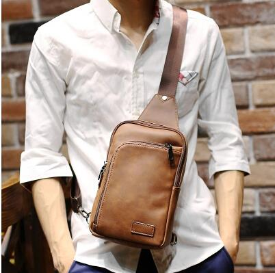 Korean version men large capacity crazy horse leather shoulder bag