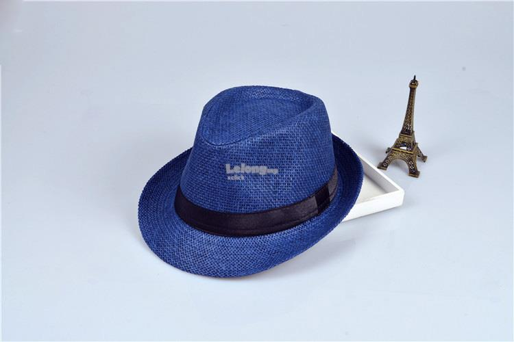 Korean version of the tide fashion shade small hat straw hat- Blue/Pin