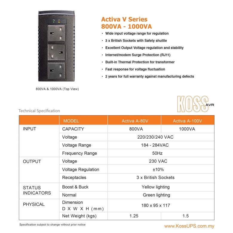 KOSS ACTIVA V SERIES 800VA AVR AUTO VOLTAGE REGULATOR A-80V