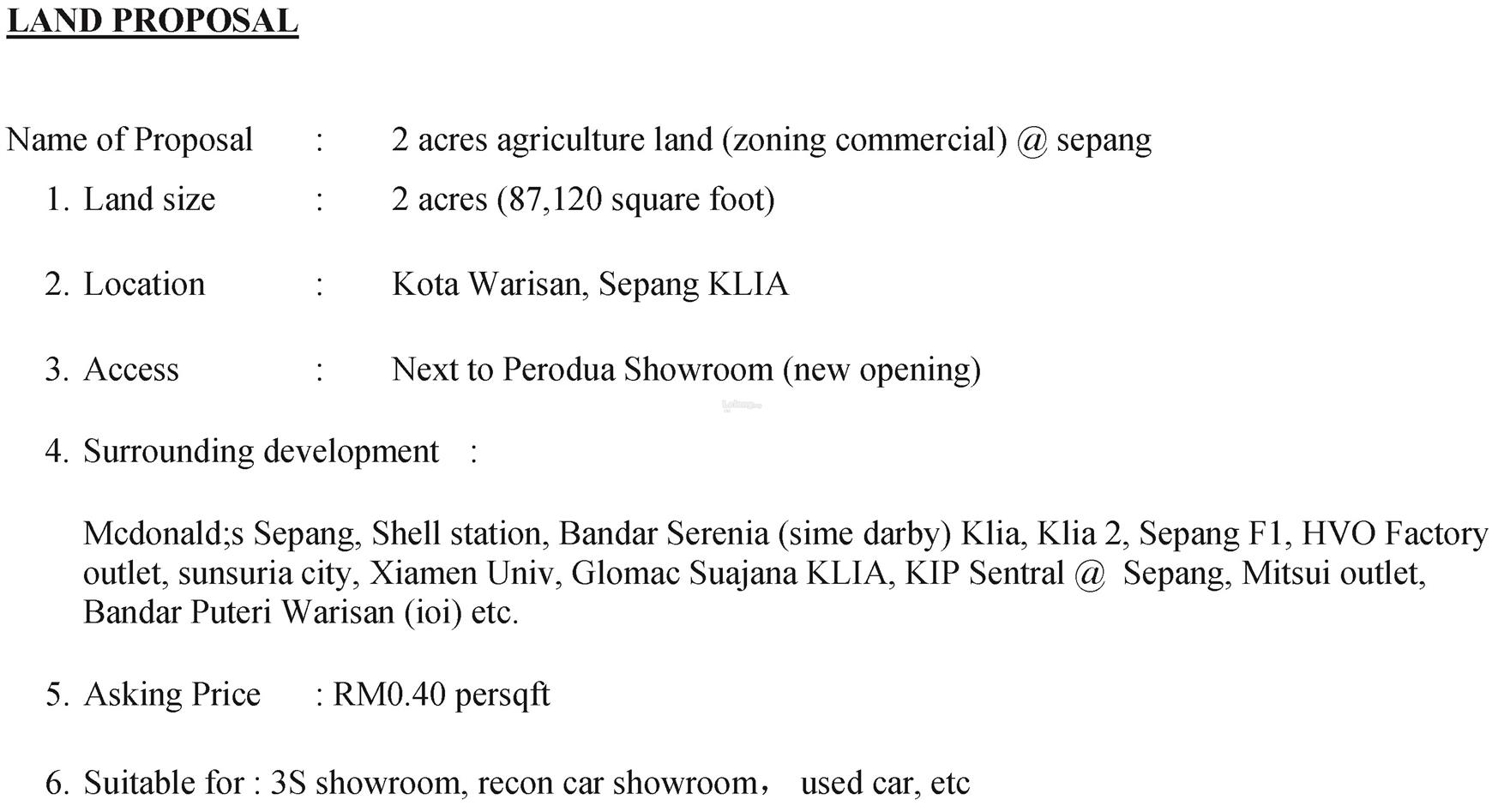 Kota Warisan, Sepang KLIA - 2 acres zoning commercial Main road Land